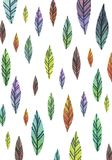 Watercolor colorful leaves pattern on the white wallpaper vector illustration
