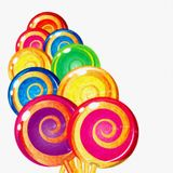 Watercolor colorful Lollipops on white background. Sweet food ba Royalty Free Stock Photos
