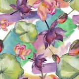 Watercolor colorful lotus flower. Floral botanical flower. Seamless background pattern. Fabric wallpaper print texture. Aquarelle wildflower for background stock illustration