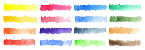 Watercolor stripe brush colorful rainbow palette vector background Royalty Free Stock Photos