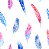 Watercolor colorful pink blue bird feather seamless pattern texture background Stock Photography
