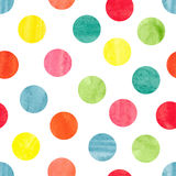 Watercolor colorful polka dot seamless pattern. Stock Images