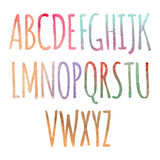 Watercolor colorful rainbow Alphabet. Artistic watercolor font royalty free illustration