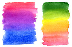 Watercolor colorful rainbow paint stains Royalty Free Stock Images