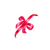 Watercolor colorful red pink isolated decorative bows of ribbon Stock Photos