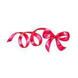 Watercolor colorful red pink isolated decorative bows of ribbon Royalty Free Stock Images