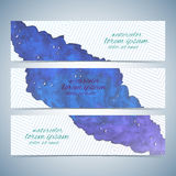 Watercolor colorful set of vector banners for your design.  Stock Image