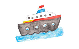 Watercolor colorful ship Stock Photo