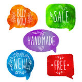 Watercolor colorful speech bubbles. Watercolour Royalty Free Stock Image