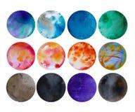 Watercolor colorful spots, hand drawn watercolor elements for design, colorful watercolor planet for universe design. vector illustration