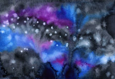 Watercolor colorful starry space galaxy background Royalty Free Stock Image