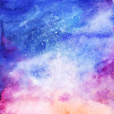 Watercolor colorful starry space galaxy nebula background.  Stock Photos