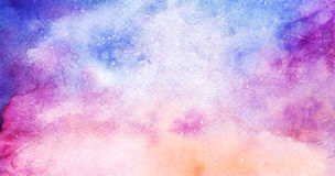 Watercolor colorful starry space galaxy nebula background.  Stock Photography