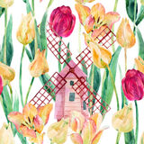 Watercolor colorful tulips field with old windmills. Blooming tulips season in Holland. Watercolor floral seamless pattern on white background. Hand painted Stock Photos
