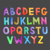 Watercolor colorful vector handwritten alphabet Royalty Free Stock Photos
