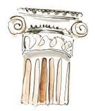 Watercolor column. Watercolor handmade drawing capitals royalty free stock photos