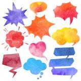 Watercolor Comics Bubble Set. Blank watercolor comics speech bubble colorful set isolated vector illustration Royalty Free Stock Image