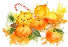 Watercolor composition with Christmas balls and tangerines. Bright composition with Christmas balls and tangerines. Watercolor illustration for Christmas and Stock Photo