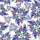 watercolor Composition décorative - Paisley sur un fond blanc Configuration sans joint Image libre de droits