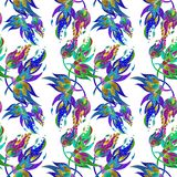 watercolor Composition décorative - Paisley sur un fond d'aquarelle Configuration sans joint Images libres de droits