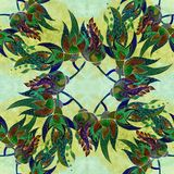 watercolor Composition décorative - Paisley sur un fond d'aquarelle Configuration sans joint Photo stock