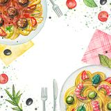 Watercolor composition with pasta, napkins, vegetables and table stock illustration