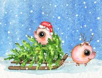 Watercolor composition with piglets, sleigh, snow and Christmas royalty free illustration