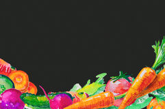 Watercolor composition set with vegetables Stock Photo