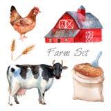 Watercolor Concept Farm Set Stock Photography