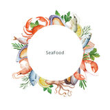 Watercolor conceptual illustration of seafood and spices. Royalty Free Stock Photo