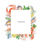 Watercolor conceptual illustration of seafood and spices. Stock Photo
