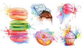 Watercolor confectionery set. Vector icon collection with candy lollipop, macaroons, birthday cupcake, chocolate bar, donut with pink glaze. Delicious food for stock illustration