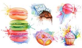 Watercolor confectionery set Stock Photos