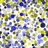Watercolor confetti seamless pattern. Hand painted dramatic circles. Watercolor confetti circles. Indigo scattered circles pattern. 34 Stock Image