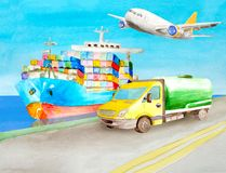 Watercolor container ship and tank truck cistern stand on the pier nearby for illustrations in the logistics topic. Cargo. Watercolor container ship and tank stock illustration