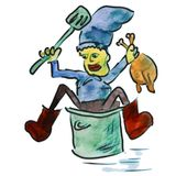 Watercolor cook blue cartoon figure, isolated on Stock Image