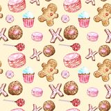Watercolor cookies, cupcakes, lollipop, macaron, gingerbread seamless pattern on warm yellow background. Cute desserts background for packaging, cards, wrapping vector illustration
