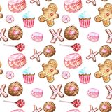 Watercolor cookies, cupcakes, lollipop, macaron, gingerbread seamless pattern on white background. Cute desserts background for packaging, cards, wrapping vector illustration