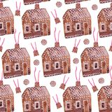 Christmas seamless pattern `Gingerbread house` Royalty Free Stock Image
