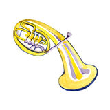 Watercolor copper brass band alto. On white background Royalty Free Stock Image