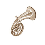 Watercolor copper brass band alto. On white background Royalty Free Stock Photography