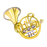 Watercolor copper brass band French horn. On white background Stock Photography