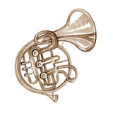 Watercolor copper brass band French horn. On white background Royalty Free Stock Photo
