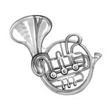 Watercolor copper brass band French horn Royalty Free Stock Image