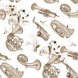 Watercolor copper brass band music pattern. On white background Stock Photos