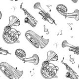 Watercolor copper brass band music pattern. On white background Royalty Free Stock Image