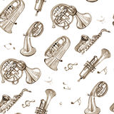 Watercolor copper brass band music pattern. On white background Stock Photo