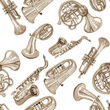 Watercolor copper brass band music pattern. On white background Stock Image