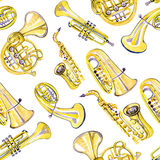 Watercolor copper brass band pattern. On white background Stock Image