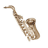 Watercolor copper brass band saxophone. On white background Stock Photo